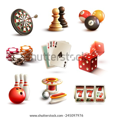 Game realistic icons set with casino sport and leisure games isolated vector illustration