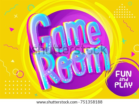 game room vector banner in
