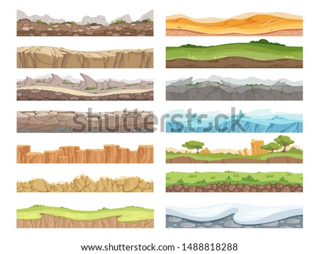 Game seamless ground. Cartoon rock dirt landscape stone ground asset 2d floor vector background