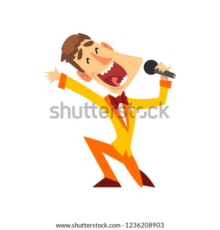 Game show host with microphone vector Illustration on a white background