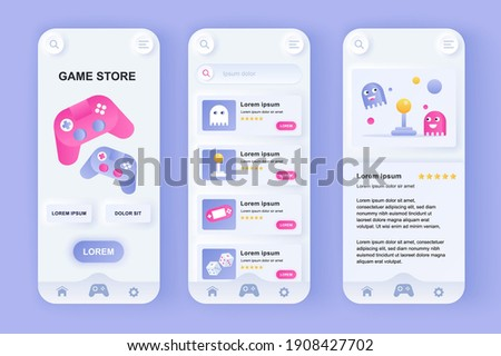 Game store unique neomorphic design kit. Online store of computer video games, gaming controllers and mobile accessories. UI UX templates set. Vector illustration of GUI for responsive mobile app.