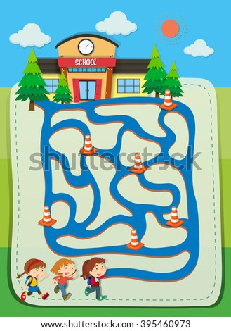 Game template with children going to school illustration - stock vector