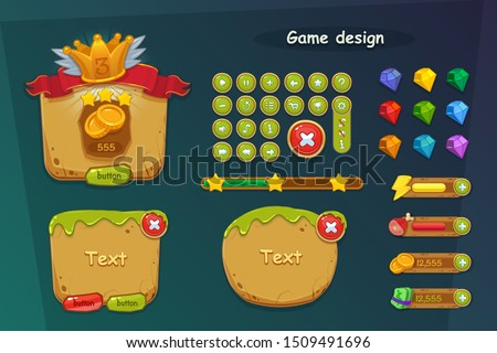 Game ui assets. Template menu of graphical user interface GUI to build 2D cartoons games