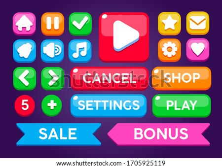 Game ui set. Complete elements of graphical user interface GUI to build 2D games. Casual Game. Vector. Can be used in mobile or web games.