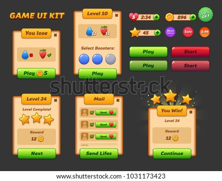 Game ui set. Complete menu of graphical user interface GUI to build 2D games. Casual Game. Vector. Can be used in mobile or web games.