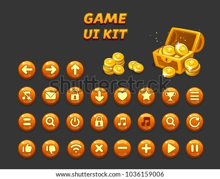 Game ui set. GUI to build 2D games. Casual Game. Vector. Can be used in mobile or web games.