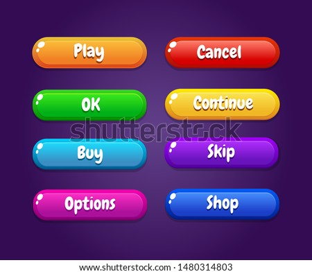 Game ui set of Buttons. GUI to build 2D games. Vector. Can be used in production of mobile, web or video games.Cartoon Casual Buttons Kit