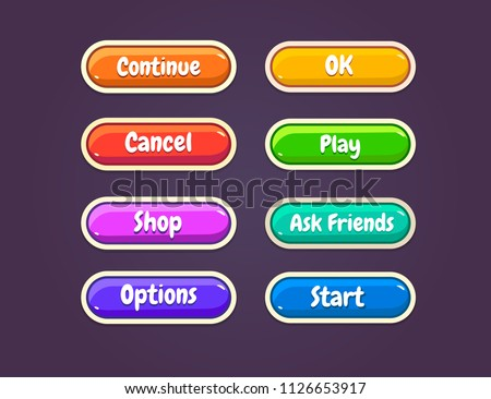 Game ui set of Buttons. GUI to build 2D games. Vector. Can be used in the production of mobile, web or video games.