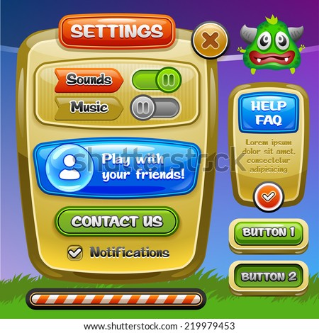 Game UI Settings window A funny cartoon design ui game options control panel including status and level bars Vector eps 10