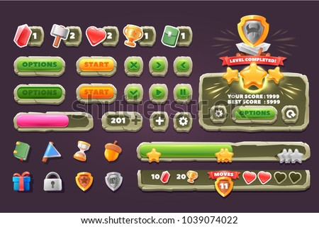 Game ui stone set. Complete menu of graphical user interface GUI to build 2D games