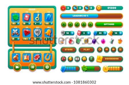 Game ui wooden set. Complete menu of graphical user interface GUI to build 2D games