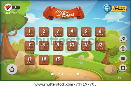 Game User Interface Design For Tablet/ Illustration of a funny graphic game user interface background, in cartoon style with spring nature landscape, basic buttons and functions and status bar