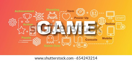 game vector trendy banner design concept, modern style with thin line art video game icons on gradient colors background