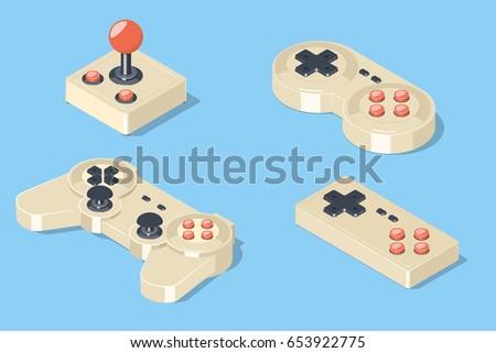 gamepad and joystick set. video ...