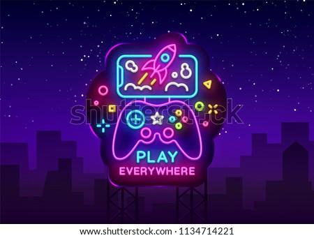 Gamepad and Smartphone neon sign vector. Games for Smartphone Logotype, Emblem Modern Trend Design, Vector Template, Light Banner, Night Vivid Video Game Promotion, Design Element. Vector Billboard