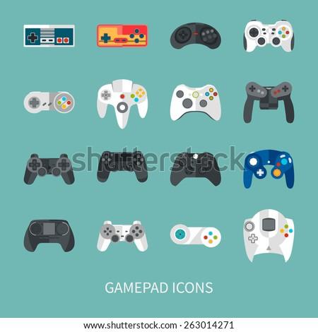 gamepad icon set flat style
