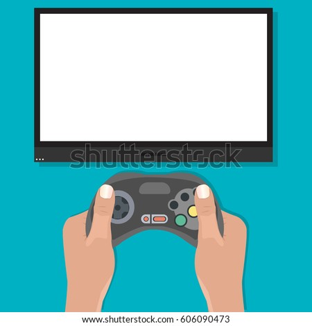 gamepad in hands in front of