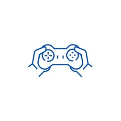 Gamepad in hands,playing game line icon concept. Gamepad in hands,playing game flat  vector symbol, sign, outline illustration.