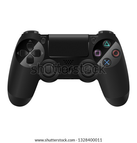 Gamepad or joypad controller for a video game console or pc wireless black isolated detailed vector eps 10