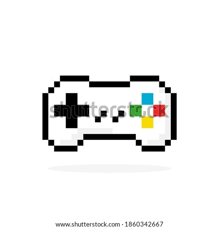 Gamepad pixel image. Vector illustration of a pixel joystick. Game controller icon for app, logo and t-shirt design. Сток-фото ©