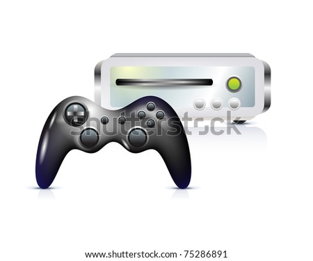 Gamepad with console on white