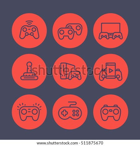 gamepads line icons set, game controllers, console, video gaming, cyber sport