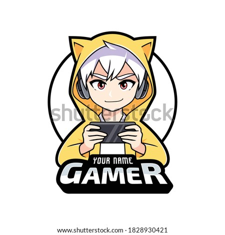 Gamer anime boy playing on smartphone esport logo