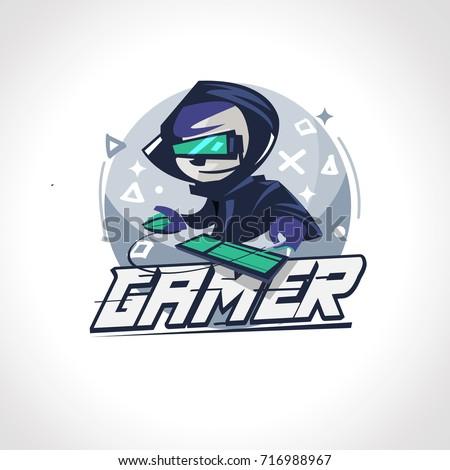 Gamer boy character design in actions. Gamer logo - vector illustration