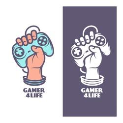 Gamer for life t-shirt design. Oldschool videogames related poster. Hand with joystick. Vector vintage illustration.