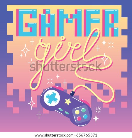 Gamer girl. Cute card with colorful retro game controller.