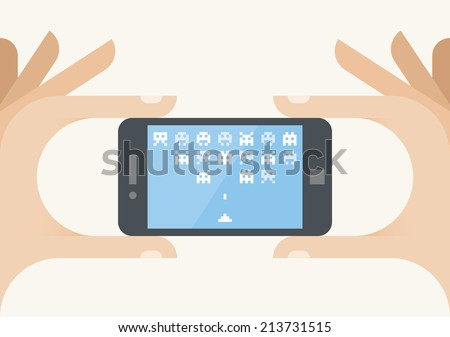gamer hand holding mobile phone