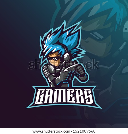 gamer mascot logo design vector