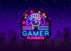 Gamer Play Win logo neon sign Vector logo design template. Game night logo in neon style, gamepad in hand, modern trend design, light banner, bright nightlife advertisement. Vector Billboard