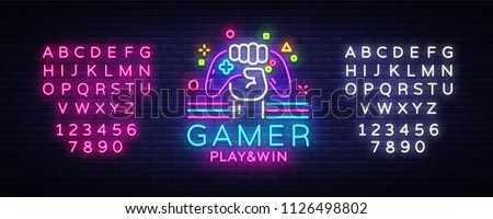 gamer play win logo neon sign