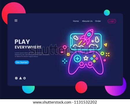 Gamer website concept banner Vector design template. Play Everywhere light banner in neon style, modern trend design, bright nightlife advertisement. Vector illustration