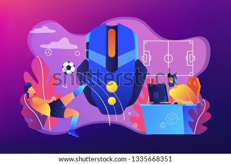 Gamer with headset at computer taking part in online footbal tournament. Sports games, online footbal tournament, e-game championship concept. Bright vibrant violet vector isolated illustration