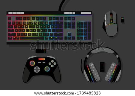 gamer workspace concept  top