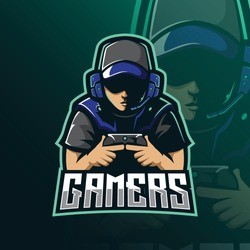 gamers mascot logo design vector with modern illustration concept style for badge, emblem and tshirt printing. gamer illustration for esport team.