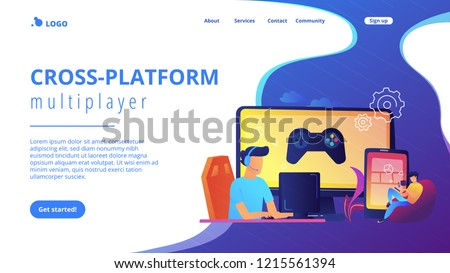 Gamers play video game on different hardware platforms. Cross-platform play, cross-play and cross-platform gaming concept on white background. Website vibrant violet landing web page template.
