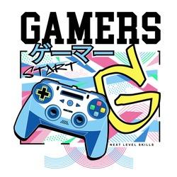 Gamers typography with joystick illustration, tee shirt graphics, vectors, japan gamer translate, hand drawn artwork