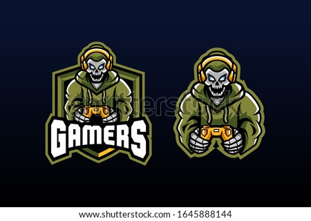 gamers with skull heads holding xbox controllers wearing hoodies and headphones on their heads look happy suitable for team logo or esport logo  and mascot logo, or tshirt design