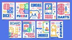 Games Creative Advertising Posters Set Vector. Smartphone And Console, Puzzle And Chess, Snooker And Darts, Addiction And Board Games. Concept Template Stylish Colorful Illustrations