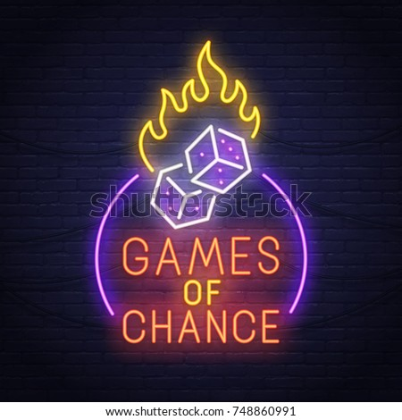Games of chance neon sign. Neon sign. Casino logo, emblem and label. Bright signboard, light banner.