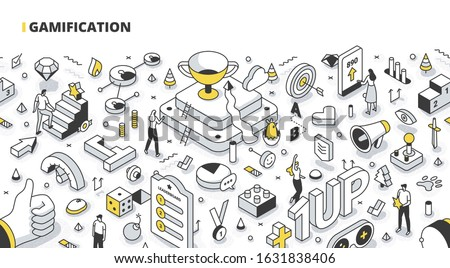 Gamification concept. Game-like elements in business, education & marketing. Create interactive content to engage customers. Social media marketing technology. Isometric outline illustration