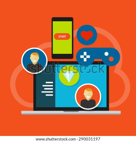 Gamification. Game result online mobile application software #290031197