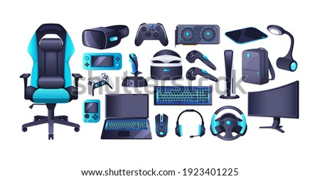 Gaming accessories and professional IT equipment set. Headset with mic, gaming chair, monitor, steering wheel, virtual reality glasses, playing joystick, video console, headphone, mouse, video card
