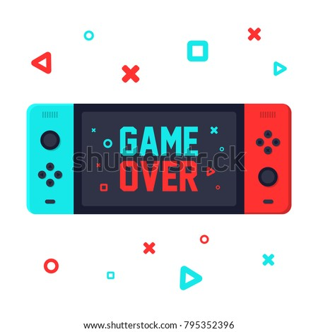 Gaming concept. Game over on portable console. Flat design vector illustration on white background