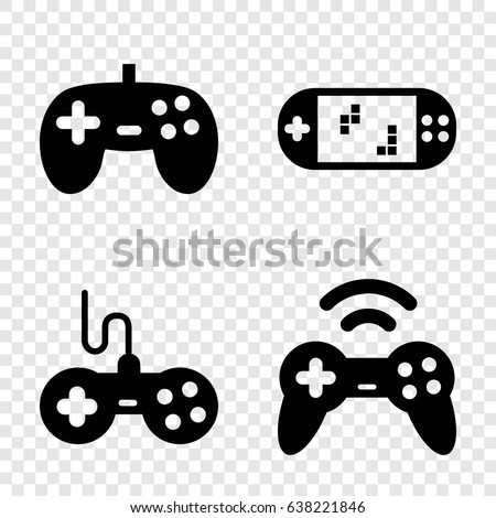 Gaming icons set. set of 4 gaming filled icons such as joystick
