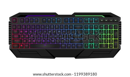Gaming keyboard with LED backlit. Realistic computer keyboard.