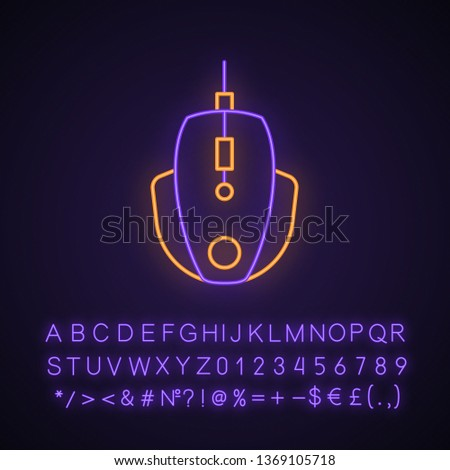 Gaming mouse neon light icon. Esports equipment. Player digital device. High-speed computer manipulator. Glowing sign with alphabet, numbers and symbols. Vector isolated illustration